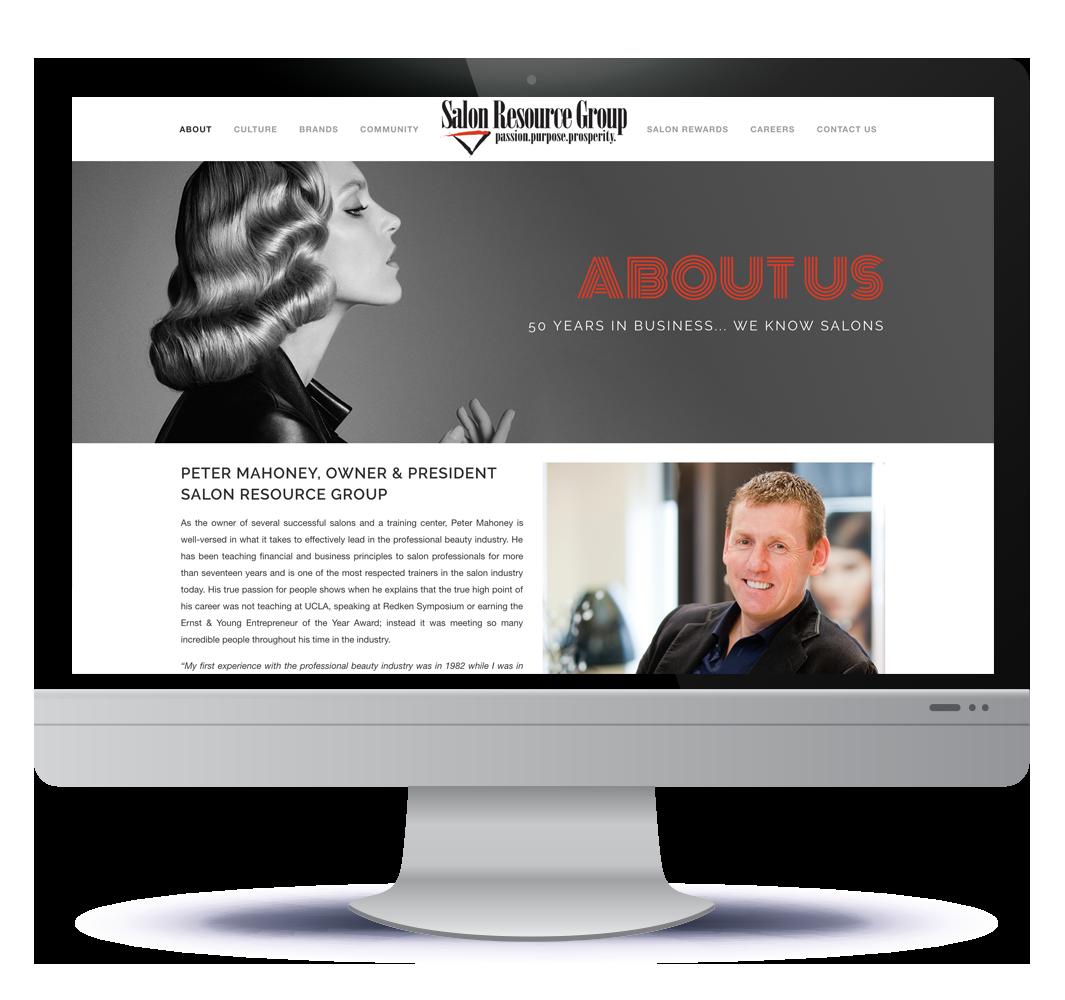 Salon Resource Group website design in Halifax NS, web designer Hillary Harris