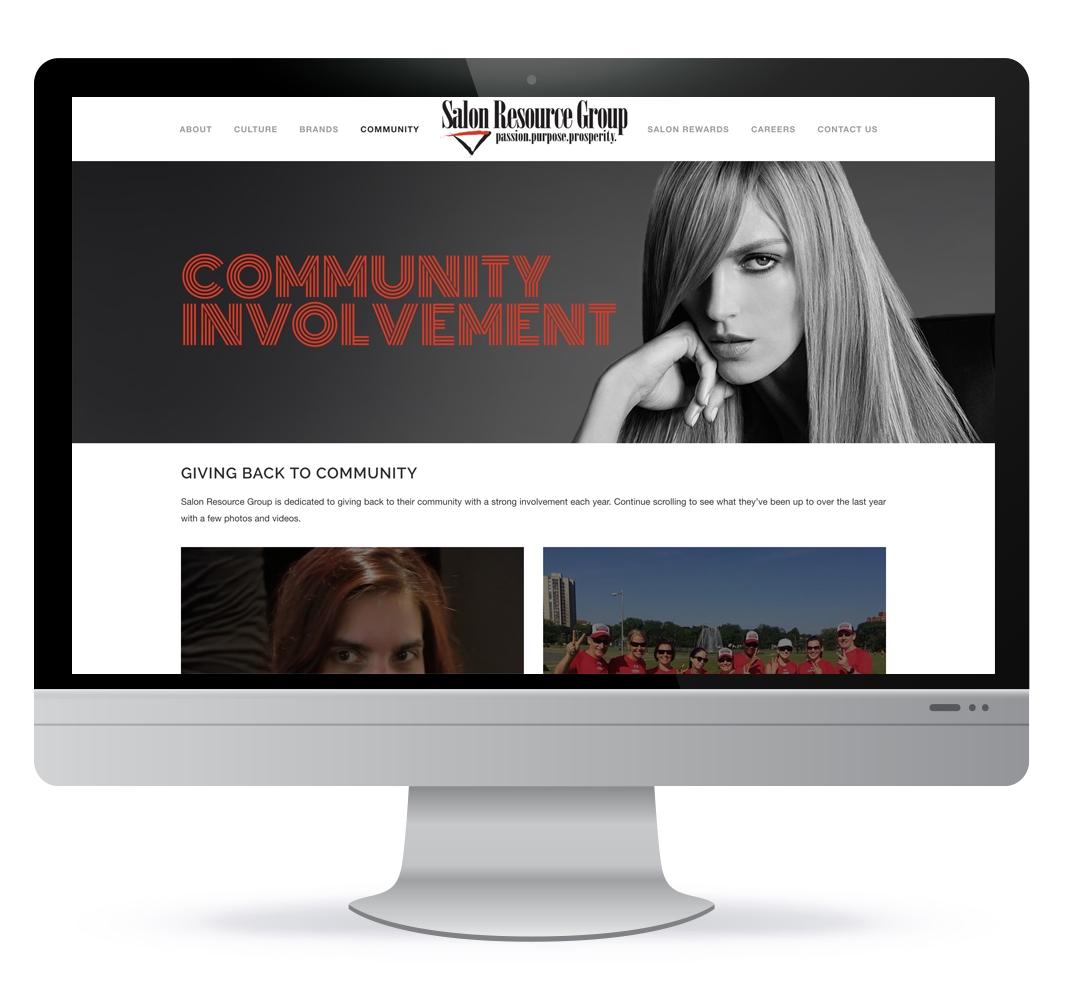 Salon Resource Group website design in Halifax NS, web designer Hillary Harris