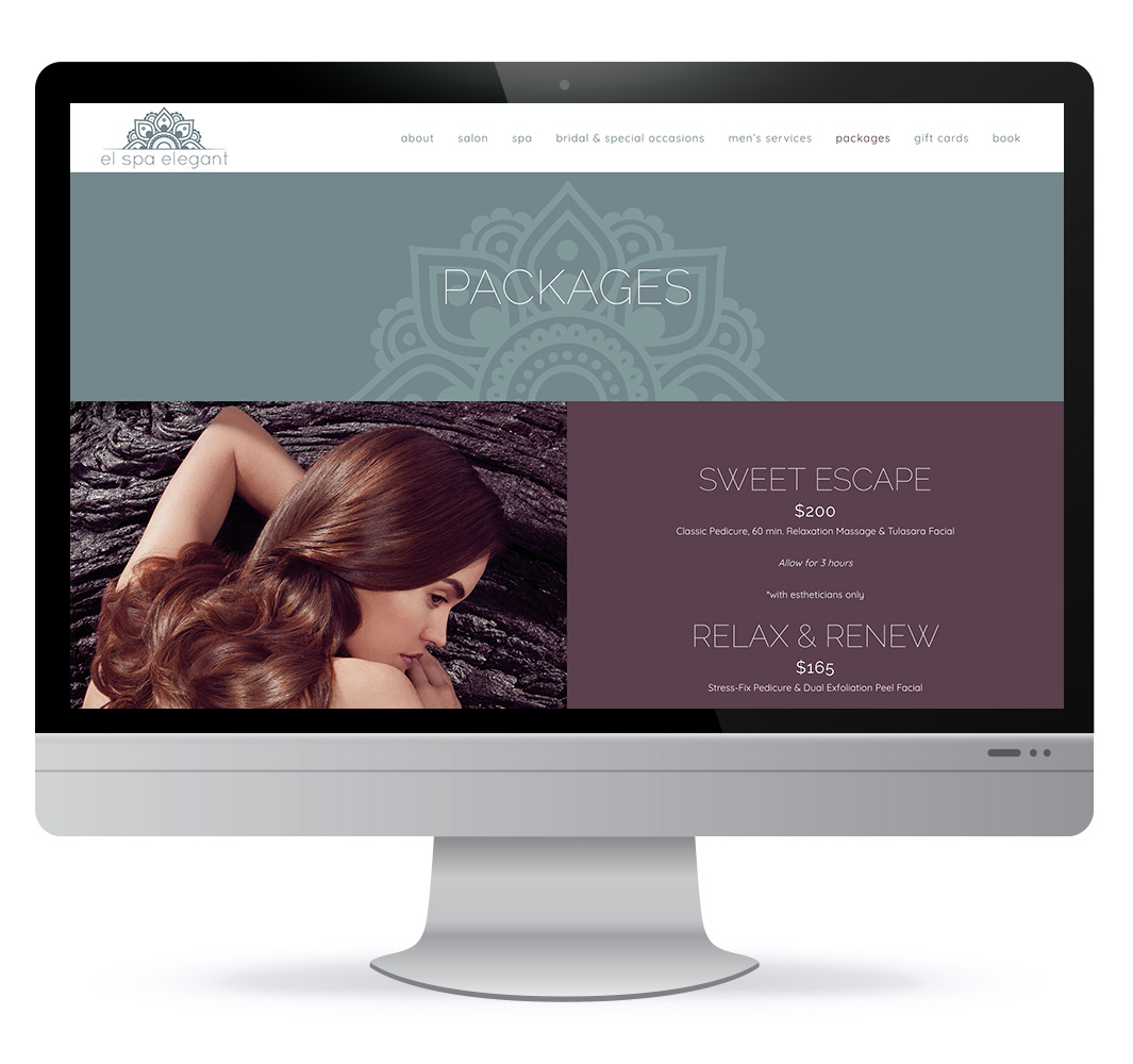 Website design for El'Spa Elegant Spa & Salon in Shediac NB