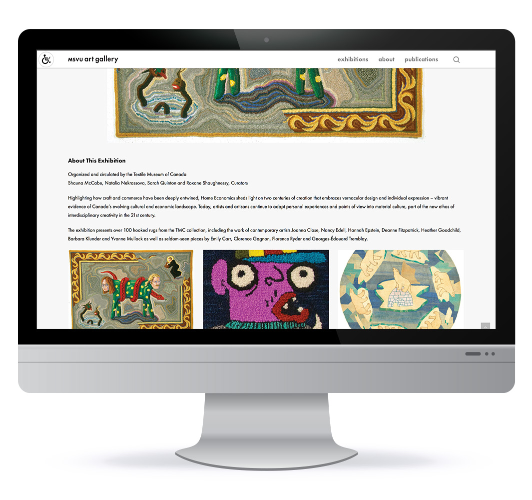Website design for MSVU Art Gallery in Halifax NS, web design by HHDesign