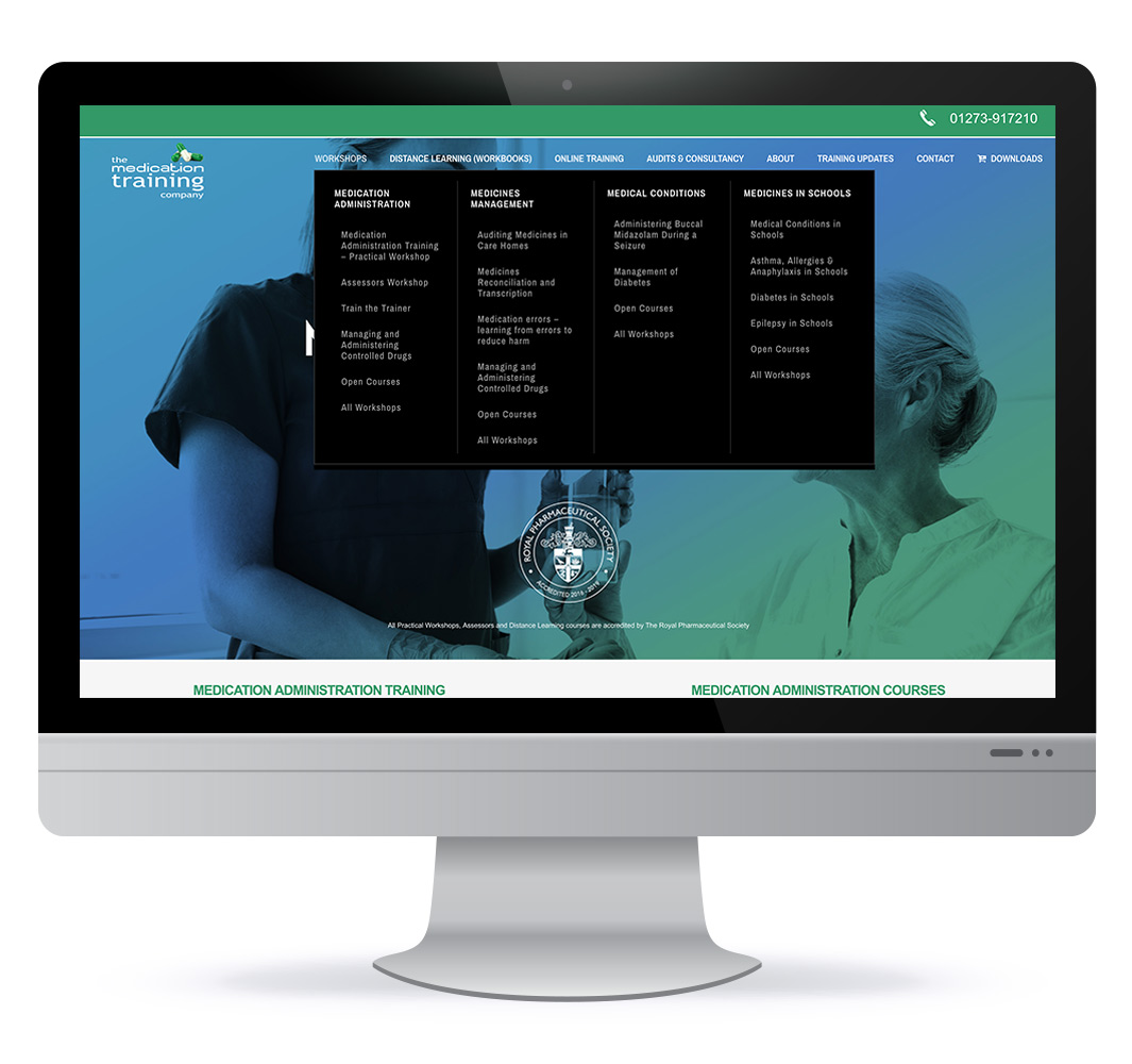 Website design for The Medication Training Company in the UK