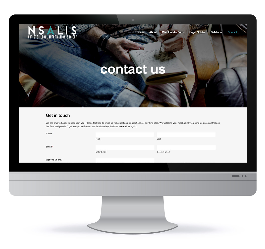 Website redesign for NS Artists Legal Information Society, in Halifax NS