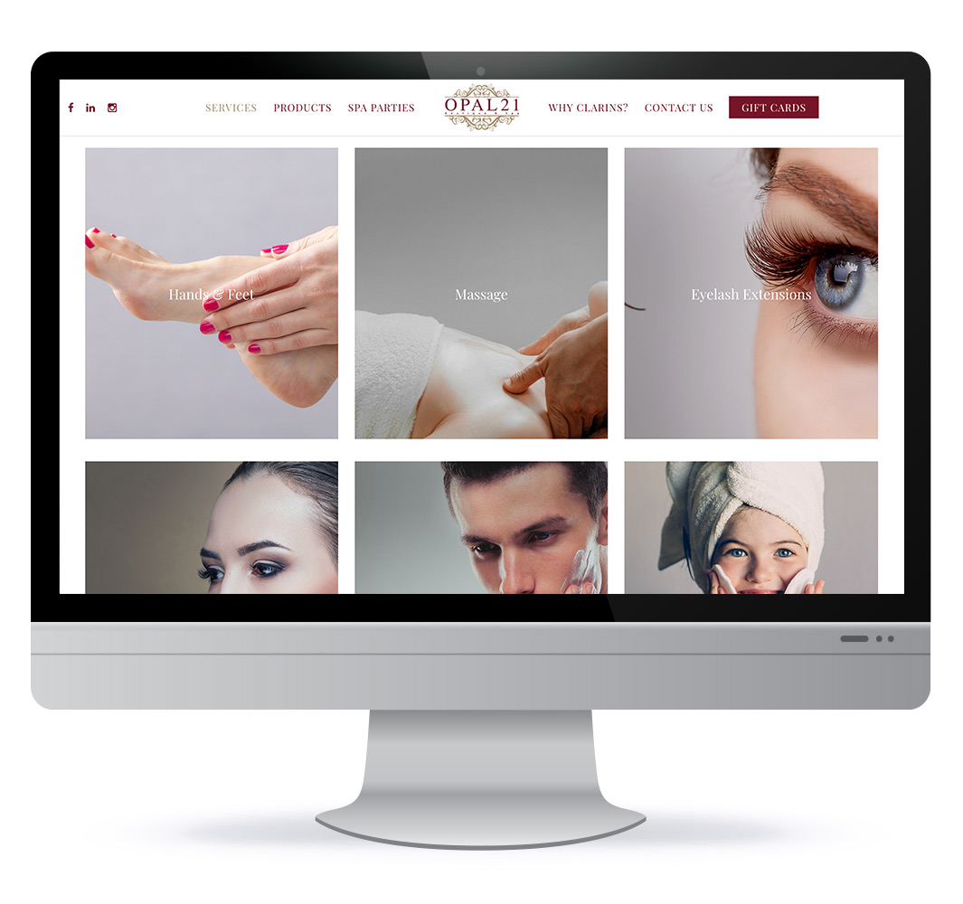 Website design for Opal21 Spa in Moncton NB