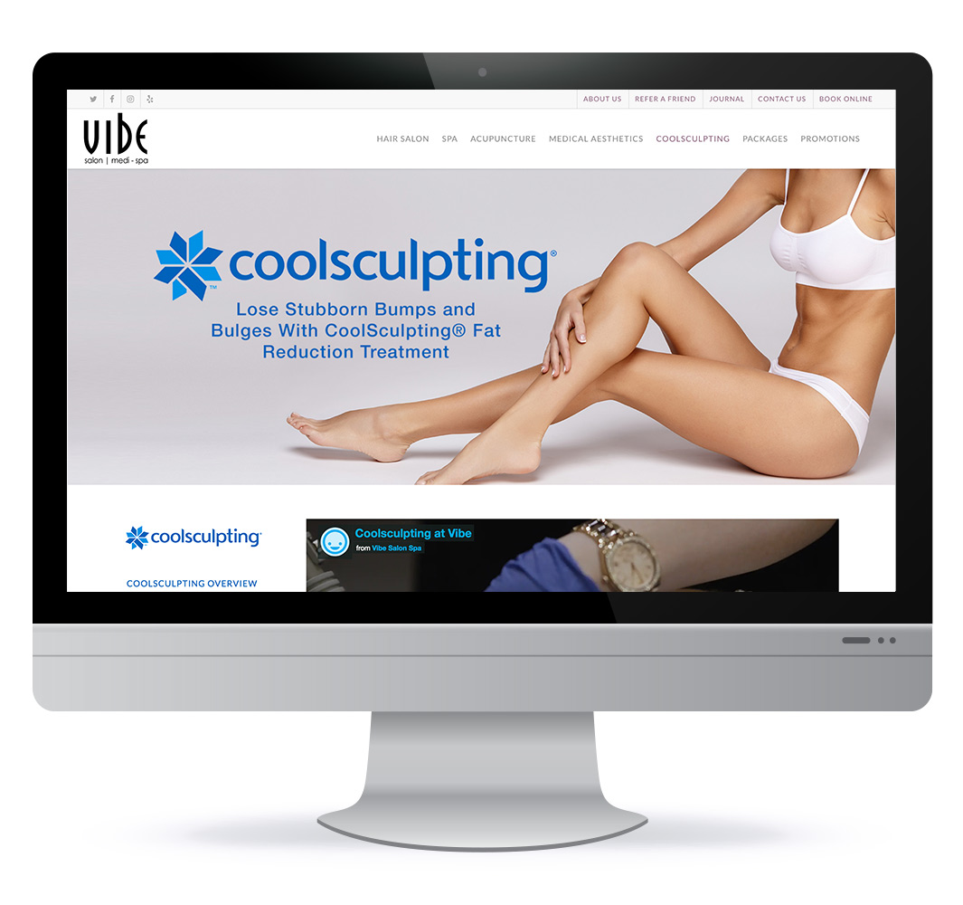 Web design for Vibe Medi-Spa and Hair Salon in Bedford NS