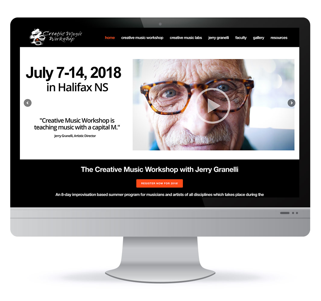 Screenshot of Creative Music Workshop website designed by HH Design