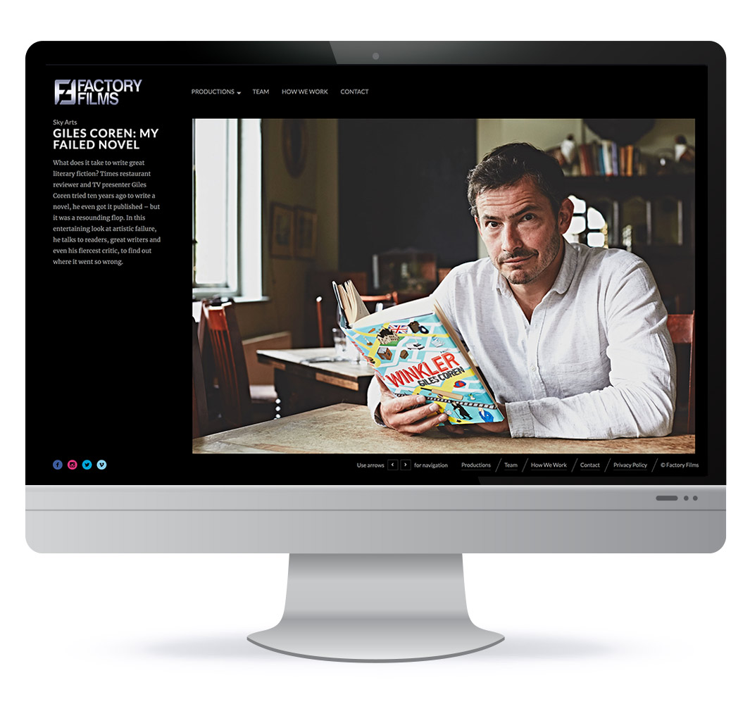 Website design for Factory Films based in Brighton UK