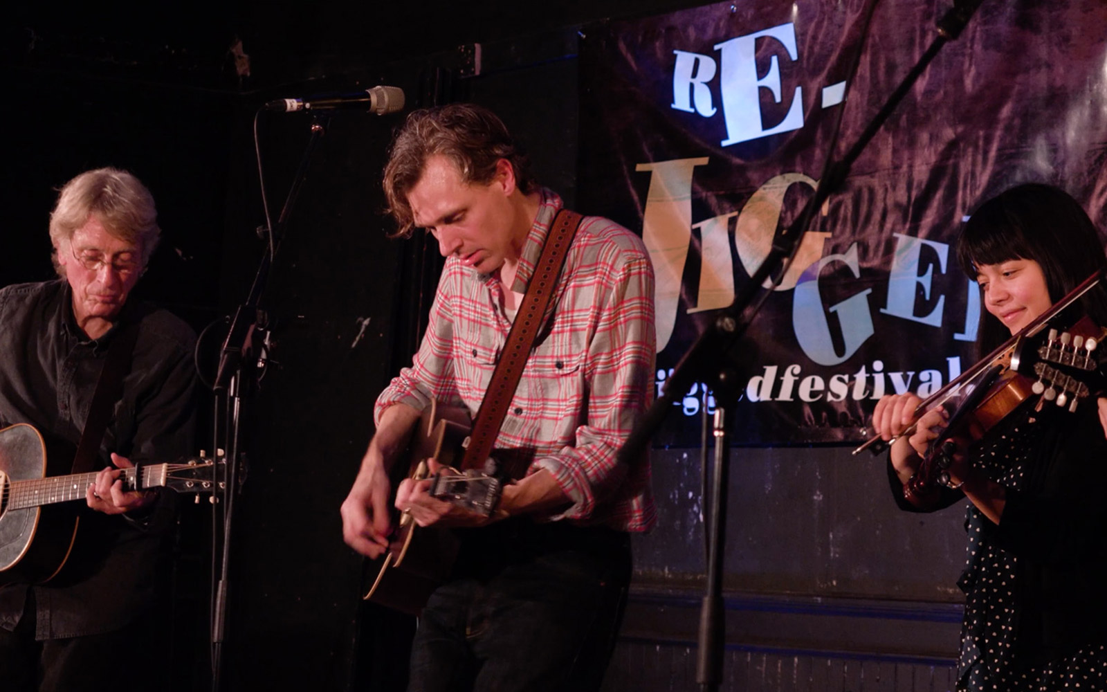 Still from ReJigged festival with Joel Plasket on stage