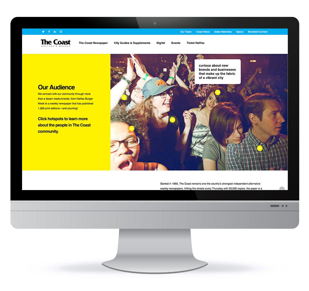 Screenshot of of The Coast's mediakit website