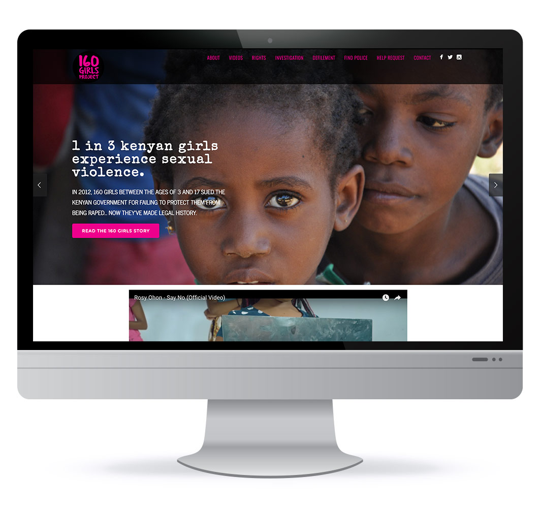 Web design for 160 Girls Human Rights project